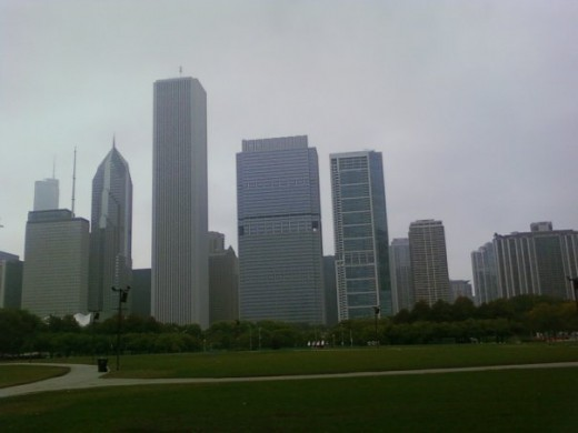 Chicago skyline on a hazy day