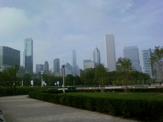 Downtown Chicago skyline on a hazy day.
