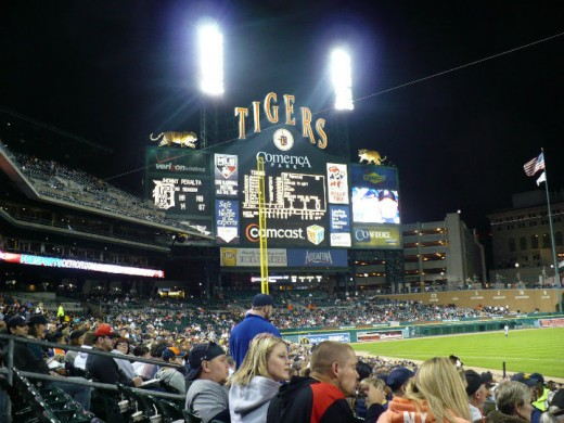 Comerica Park scoreboard (yup, the Tigers are winning!) - Downtown Detroit, Michigan
