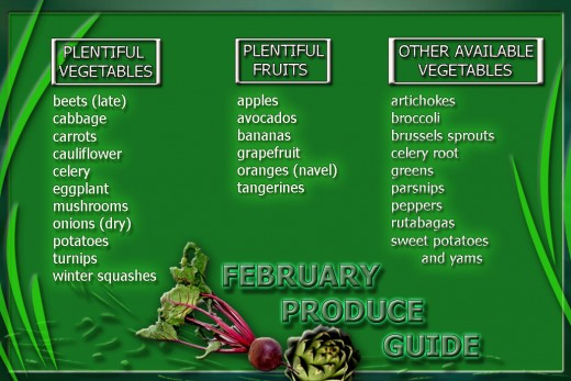 February produce guide card