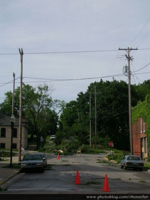 Down trees and power lines were blocking nearly every street, making travel difficult.  (Manistee, Michigan)