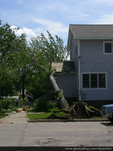 Another house with a tree fallen onto it.  (Manistee, Michigan)