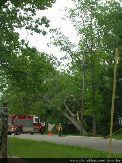Emergency crews were overwhelmed by the staggering amount of storm damage.  (Manistee, Michigan)