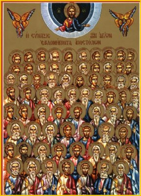 "Icon of the original ""Seventy"" Disciples including the ""Seven Deacons"" of Jerusalem in front."