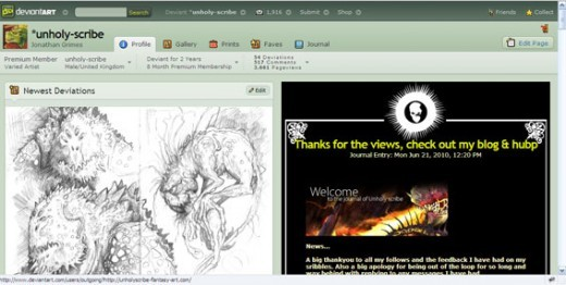 My Deviant Art page showing various art work from traditianla landscapes to fantasy art, traditional and digital.