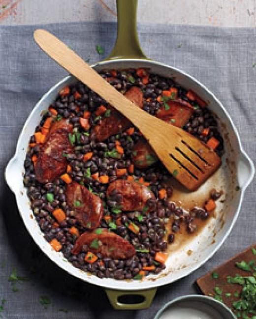 Black beans and sausage recipe at marthastewart.com