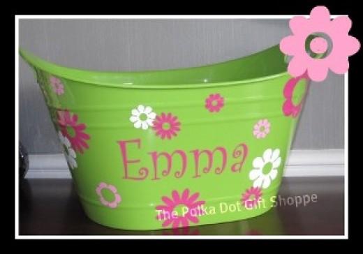 Personalized Polka Dot Bucket