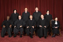 The Roberts Court, 2010 Back row (left to right): Sonia Sotomayor, Stephen G. Breyer, Samuel A. Alito, and Elena Kagan. Front row (left to right): Clarence Thomas, Antonin Scalia, Chief Justice John G. Roberts, Anthony Kennedy, and Ruth Bader Ginsbur