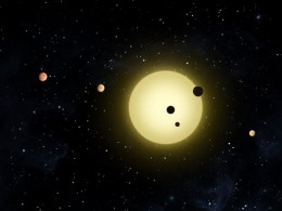 In this depiction- A Planetary System Orbiting a Star Similar to our own Sun, at approximately 16 light years distant From our Solar System.