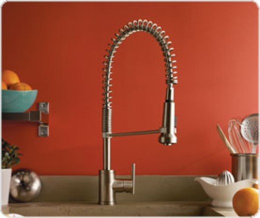 Parma Single Handle Pre-Rinse Faucet stands 23 inches tall and is perfect for rinsing large pots and pans. The heavy gauge stainless steel spring suspends an ergonomic spray head that can be toggled to provide an aerated stream or a powerful rinsing