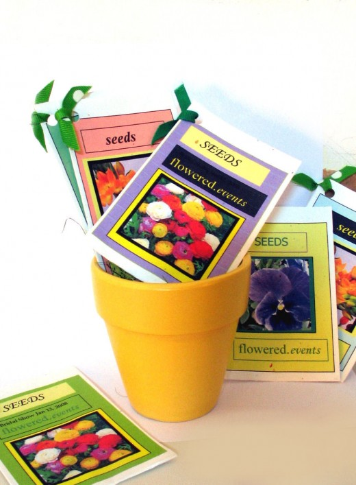 Seed packets decorated with names and dates.