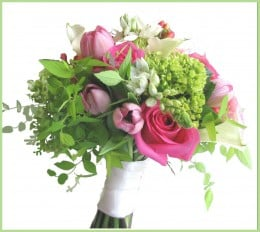 This spring bouquet was practical as it encorporated a lot of bright green foilage and inexpensive fillers.