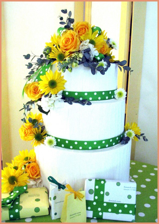 Topper was pre made and ready to go with the addition of a few more flowers down the sides and at the base of the cake.