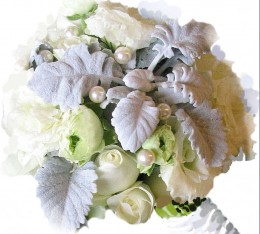 Large creamy pearls accent this winter bouquet.