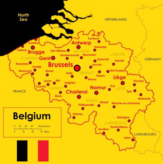 Map of Belgium. The Mont de l'Enclus / Kluisberg is near Ronse (Renaix), west of Brussels
