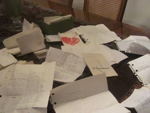 A table full of letters from Billy.