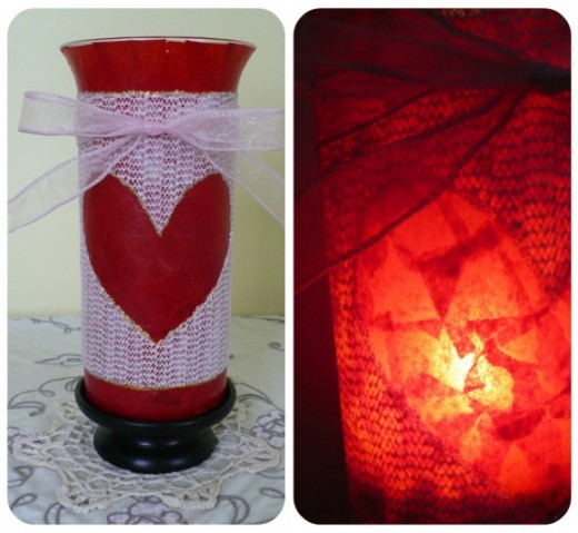 Valentine's Day Craft Tutorial:  Valentine's Day Hurricane Candle Holder