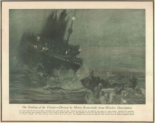 Reuterdahl's drawing of the sinking of the Titanic, constructed by the artists from news accounts of the disaster in 1912.