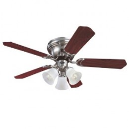 Westinghouse 7861500 Contempra Trio Three-Light 42-Inch Five-Blade Ceiling Fan, Brushed Nickel with Frosted Glass Shades