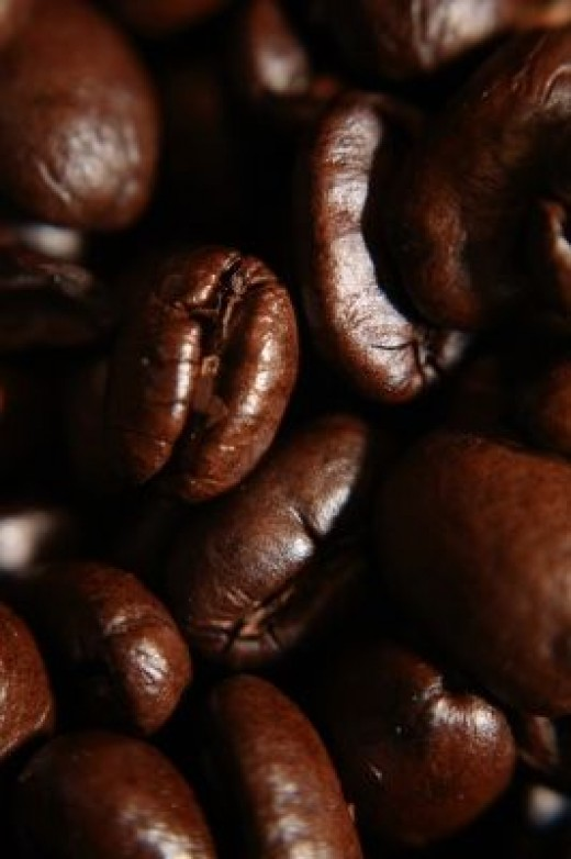 Closeup of Dark Roasted Coffee Beans