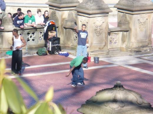 Break dancers in Central Park, Manhattan, NYC