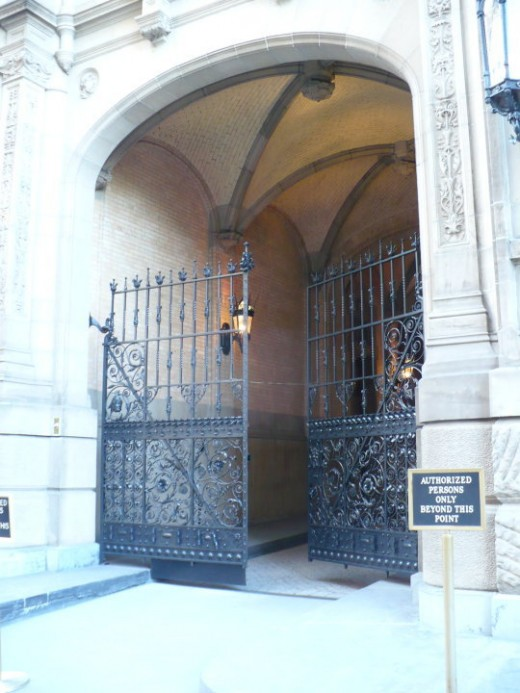 The doorway of the Dakota Apartments, the place where John Lennon was shot, Manhattan, NYC
