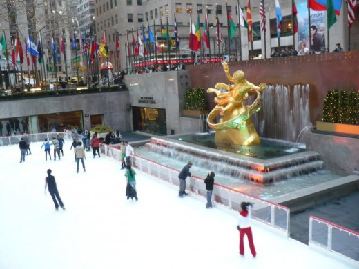 Ice skating at Rockafeller Center, Manhattan, NYC
