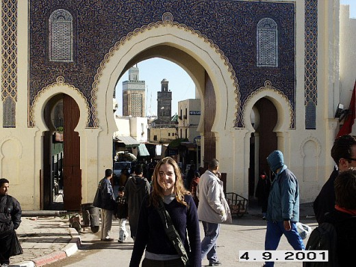 Bab Bou Jeloud, western gate to the medina, main entrance, Fes, Morocco.