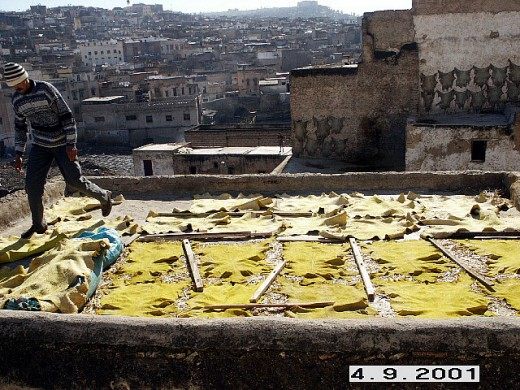 Leather drying in the sun, tanneries of Fes, Morocco.