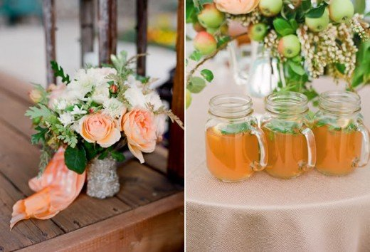 Coral Ivory Brown Green Wedding Flowers for Rustic feel