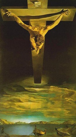 Christ of Saint John of the Cross by Salvador Dali, 1951. The image represents Dali's painting of the unusual perspective of St.John's original vision. Religions themselves show shifts in emphasis and perspective as they mature.