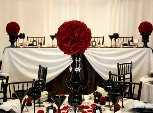 Black Red White and Silver Wedding Reception or Gothic Theme