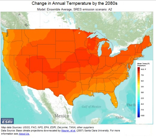 Projected average increases of US temperatures by 2080 on a business-as-usual emissions scenario