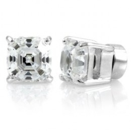 Shirina's Magnetic Earrings - Asscher Cut CZ Studs