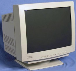 "A Hitachi 21"" CRT Monitor. The old black & white external Mac Ikegami 24"" were even bigger!"
