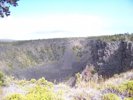 A volcanic crater nearby volcano.
