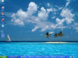 "Windows XP's desktop takes you to tropical ""Vistas""."