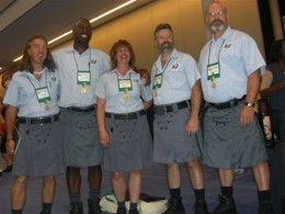 Postal workers model proposed official UPS kilt prototype