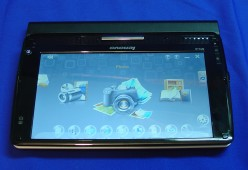 Tablet mode; This S10-3t has an 8-cell battery, which extends about an inch.