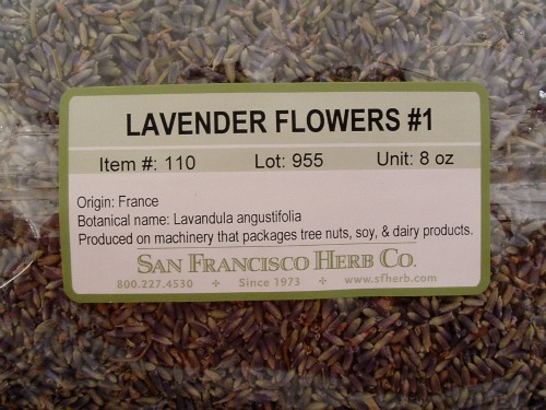 Packaged dried culinary lavender buds from San Francisco Herb Company.