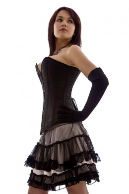Black Satin Longline Victorian Overbust Corset from The Burlesque Boutique