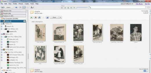 Picasa Home Screen