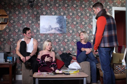 After the lie is revealed Roxy and Michael get cosy on the sofa much to the annoyance of Christian