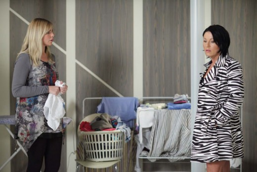 Ronnie starts to panick when Kat comes round asking why her baby died and not Ronnie's