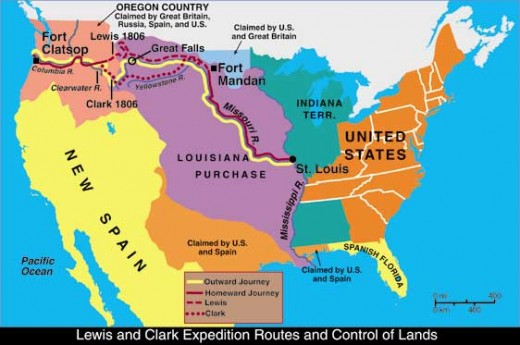 outbound and return route of the Lewis and Clark expedition