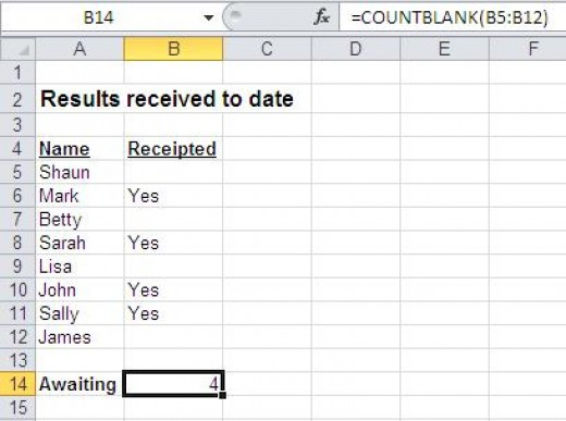 Counting all the blank cells in a list