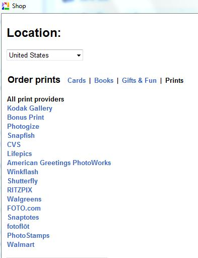 Picasa Shop Screen