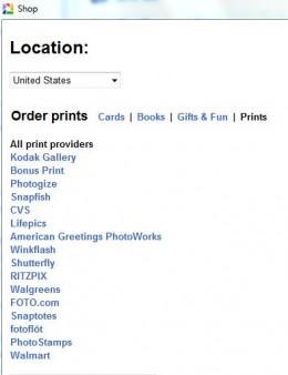 Picasa Shop Screen