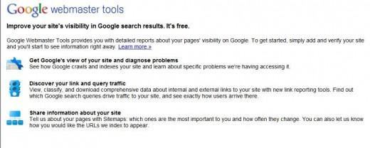 Google Webmaster Tools Login Screen
