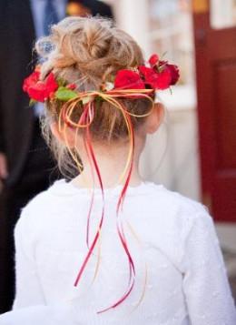 Little flower girl in a fall Wedding at Greystone Inn.